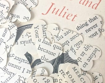 Valentinesday 100 Handcut Romeo and Juliet Shakespeare paper heart shaped upcycled confetti //English Decoration Love Wedding Romantic