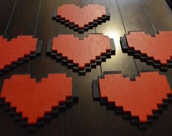 Wooden Pixel Heart Small