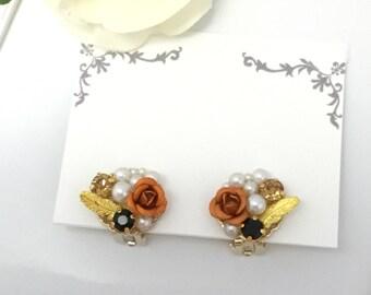 Pearl and rose earrings, earrings, clip on earrings, non pierced earrings,halloween,cute,Japan