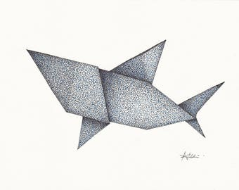 Origami Shark (pen and ink drawing)