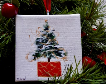 "Oh Christmas Tree   1    Christmas tree ornament,  original signed painting, winter, acrylic on 4""x4""canvas"
