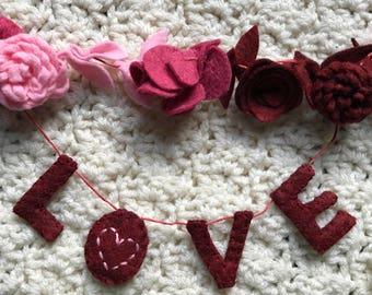 felt love garland of flowers