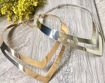 Geometric Collar Silver Gold Multi Layer Metal Choker Necklace - Short Necklace, Chokers, Pointed Necklace, Gifts for Her, Gift for Her