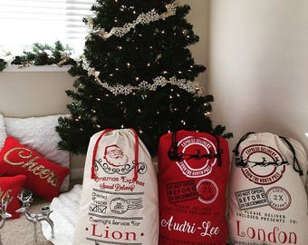 Personalized Santa Sacks, Christmas Sacks, Canvas Sacks, Christmas Bags, Santa Bags, Personalized, Holiday Bags, Bag, Personalized Santa Bag