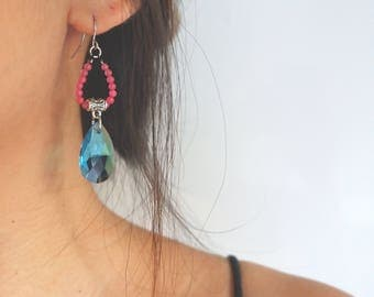Handmade chandelier earrings pink stone and blue crystal