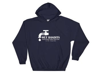 The Wet Bandits, Home Alone Christmas Navy Blue Hooded Sweatshirt, Great for gifts and 90s childhood movie lovers.