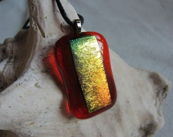 Pendant Necklace in transparent orange glass with gold metal leaf inclusion