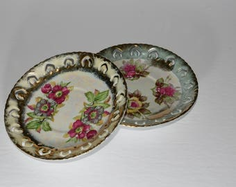 Set of 2, SHAFFORD lusterware saucer ~ hand decorated china ~ Japanese china ~ gilded gold ~ pink roses plate ~ vintage floral china plate
