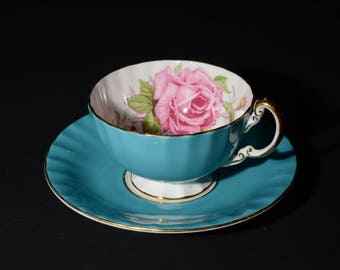 AYNSLEY, Bone China, Pink Rose, Footed, Teacup and Saucer, Turquoise Tea Cup and Saucer, Floral Bone China, 1930s, Valentines Day gift