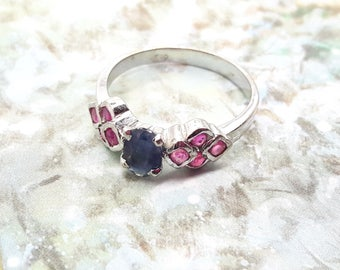 Vintage Sapphire and Ruby Sterling Silver Cluster Ring/Handmade/Free Shipping US/September Birthstone/July Birthstone