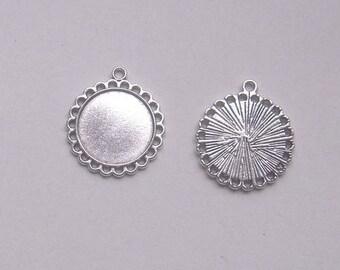 4 CABOCHONS 20 mm silver metal brackets