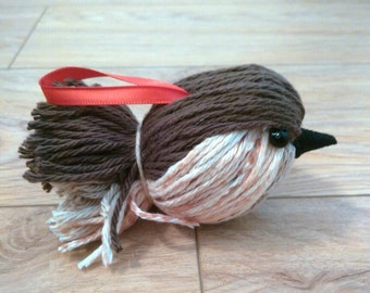 Bird Ornament, Yarn Bird Ornament, Christmas Ornament, Housewarming Gift, Christmas Gift, Yarn Bird Gift, Bird Lover Gift, Yarn Bird