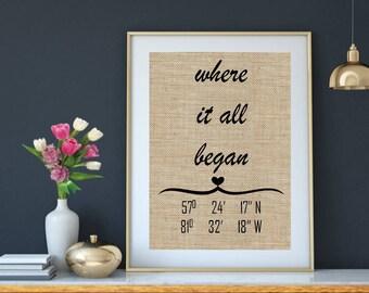 Where It All Began Latitude Longitude Sign, Latitude Sign Wedding Gift, Engagement Gift, Anniversary Gift, Husband Gift Wife Gift