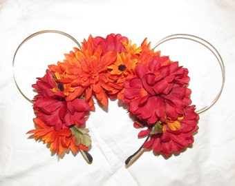 Fall Floral Wire Minnie Ears Disney Ears