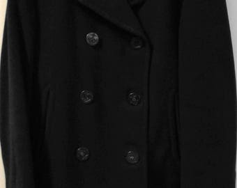 Vintage Navy Peacoat Overcoat 100% Wool Dark Blue Size 38