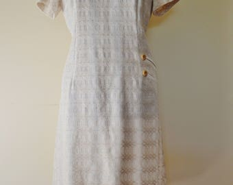 60s vintage cream white day shift dress L