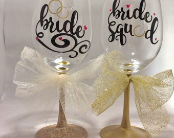 4 Pack Bride & Bride Squad Wine Glasses, Bachelorette Party, Shower Gift, Wedding, Shower, Reception, Bridesmaids' Gifts, Wedding Planning