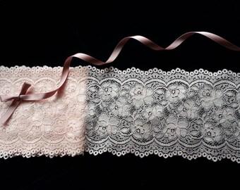 1yd (0.91m) of Raschel Stretch Lace- Peachy pink floral pattern - 13cm(5.1inch) Wide,RL_SL016