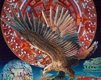 Aztec Calendar // Giclee on Canvas