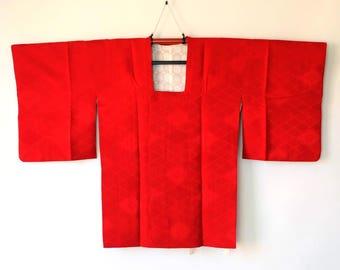 Japanese Vintage Michiyuki Kimono Jacket Rich Red Hishi Diamond M159