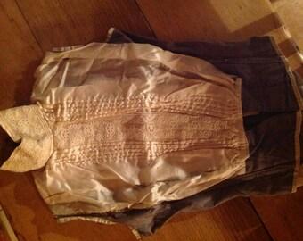 antique 1900s silk  bodice plastron, modeste
