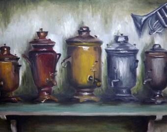 Russian Samovars - Original Oil Panting by Marat Melnyk