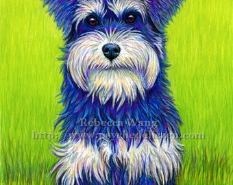 Colorful Miniature Schnauzer Dog Terrier Pet Portrait Vibrant Pastel Drawing