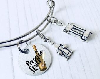 Prosecco Lover Charm Bracelet, Prosecco Jewelry,  Prosecco Bangle, Prosecco Gift, Prosecco Jewellery, Corkscrew Bracelet, WORLDWIDE SHIPPING