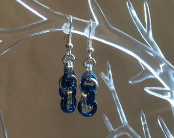 Royal Blue and Silver Double Spiral Chain Mail Earrings