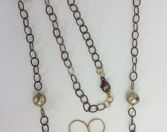 Speckled Pearls, Cocoa-Gold Chain