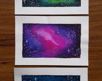 Mini Nebula Set of 3 - Original A6 Watercolour