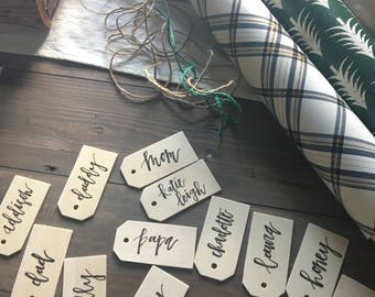 Wooden Gift Tag - Custom hand lettered