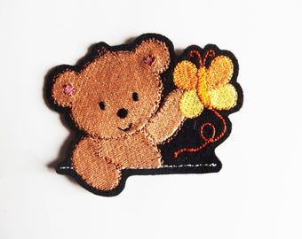Applied patch embroidery patch fusible Teddy bear with a Yellow Butterfly (Teddy)