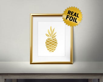 Pineapple, Real Gold Foil Print, Kitchen Decor, Fruits Decor, Kitchen Art Print, Kitchen Wall Decor, Gold Pineapple, Framed Wall Decor