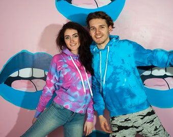 Two couples tie dye hoodies, Valentines Day gift for him Matching clothing gift for her Hippie  Winter Cotton Rainbow Tie dye hoodies