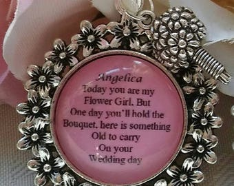 Custom made Flower Girl Wedding BRIDAL Bride BOUQUET CHARM Personalised Something Old Thank you keepsake gift