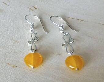 Yellow Earrings,Sterling Silver Earrings,Glass Earrings,Flower Earrings,Wire Wrapped Earrings,Dangle Earrings, Vintage Earrings,Gift for Her