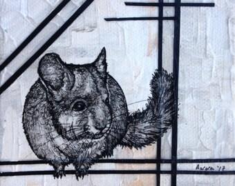 Custom Soul Painting/ spirit, chinchilla, animal, animal guide, power animal, painting, original, art, drawing, sacred, geometry
