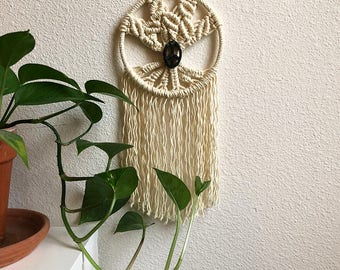 Macrame Tree of Life Wall Hanging Dreamcatcher with Moss Agate Peace Sign, Small Woven Wall Hanging, Boho Hippie Tapestry, Dream Catcher