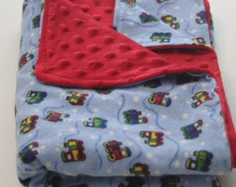 Little Trains Flannel Print Minky Backed Baby Blanket