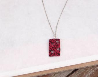 Red and black handcrafted rectangular pendant necklace
