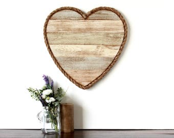 """18"""" Weathered Wood Heart with Wooden Heart/Dove Accent - rustic heart, wood heart decor, wedding decor, valentine's day decor, wall decor"""
