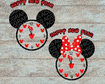 Happy New Year Mickey and Minnie Mouse Heads SVG, DXF, JPEG, and Studio Downloads
