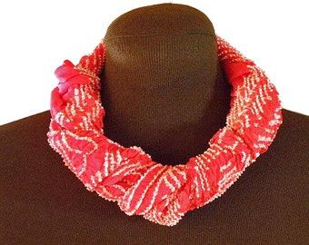 Vintage Red Silk Scarf, Silk Belt – Japanese Shibori Hand-dyed Silk – Silk Neck Scarf – Japanese Obi Silk Scarf – Japanese Silk Scarf