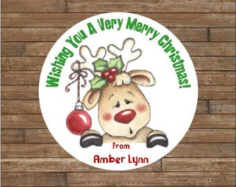 Personalized Christmas Stickers      Christmas Reindeer Stickers   Cute Reindeer Stickers    Cute Reindeer Tags