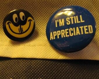 Set of 2 Vintage Message Statement Buttons Original 1960s - Black Americana Blackface and I'm Still Appreciated