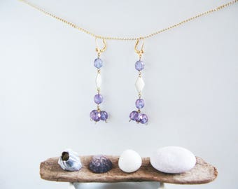 Dangling earrings, faceted and iridescent Czech glass beads.