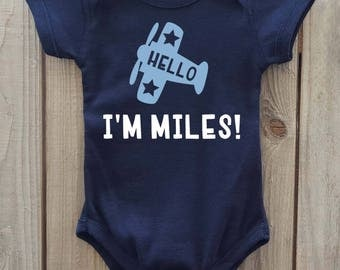 Coming home outfit, newborn boy gift, Airplane baby clothes, Airplane theme baby, Newborn hospital gift, Personalized coming home