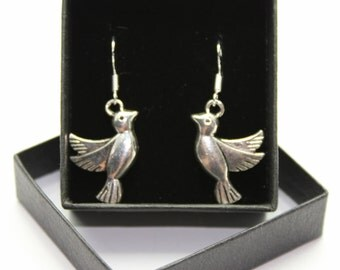 Sterling Silver fish hook dangle & drop earrings - Tibetan silver charm - 3D Doves - birds nature wildlife