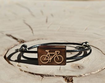 Bracelet Bois Récupéré, Cuir et Argent - Vélo Bicyclette
